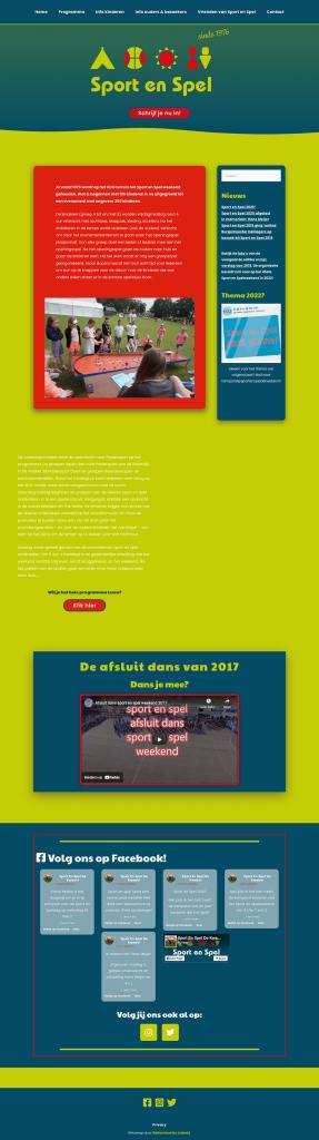Homepage Sport en Spel door Webventure by Jolanda